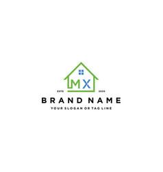 Letter mx home logo design vector