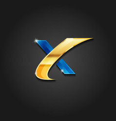letter x shiny gold and blue metallic logo vector image