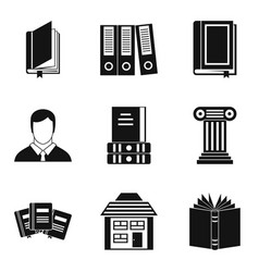library icons set simple style vector image vector image