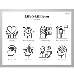 Life skill icons line pack vector