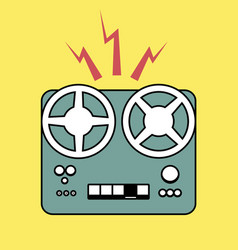 logo style retro outlines tape recorder vector image