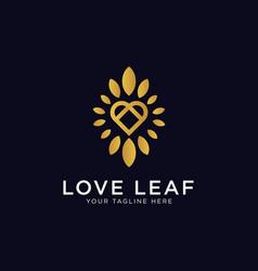love leaf luxury logo design inspiration vector image