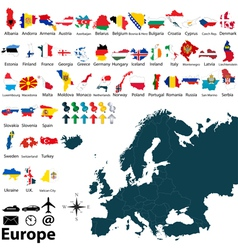 Maps with flags of Europe vector