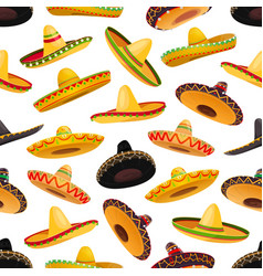 Mexican sombrero hats seamless pattern background vector