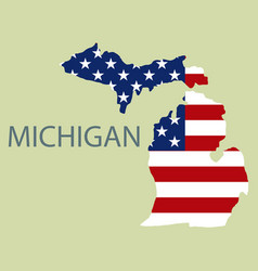 Michigan state of america with map flag print vector