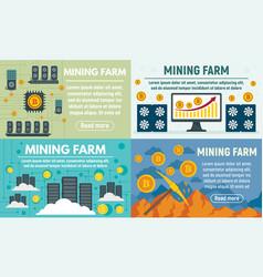 Mining farm banner set flat style vector