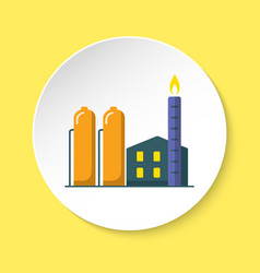 natural gas plant icon in flat style on round vector image