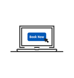 online booking on thin line laptop vector image