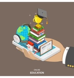 Online education isometric flat concept vector image