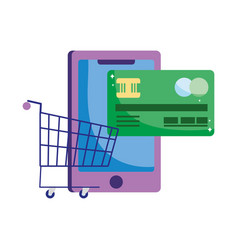 Online payment smartphone bank card and cart vector