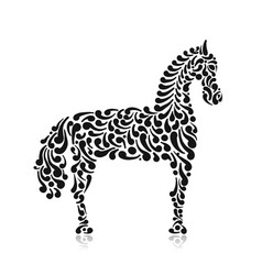 ornate horse silhouette for your design vector image