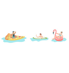 people in pool swimming man and woman floating vector image