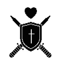 Pixelated shield with sword and heart game icon vector
