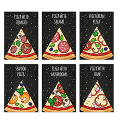 pizza cards template holiday pizza cards for vector image