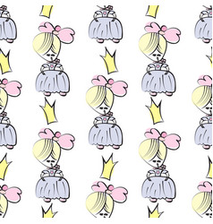 princess seamless pattern for girls design vector image