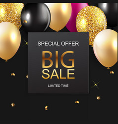 sale banner with floating balloons vector image