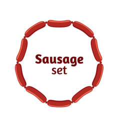 Sausages flat set bacon meat barbecue label for vector