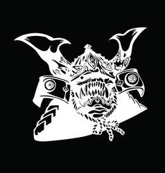 Screaming japanese monster in samurai helmet vector