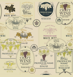 seamless pattern wine labels vector image