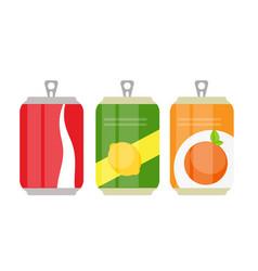 set of lemonade cans bottle template in modern vector image
