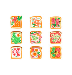 set of sandwiches with different vector image