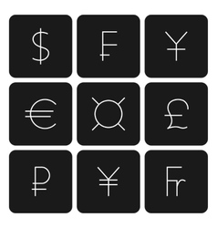 Set symbols of world currencies vector image