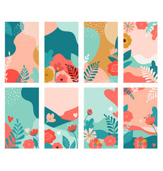 set valentines day abstract backgrounds vector image