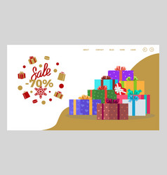 seventy percent sale on presents in store web vector image