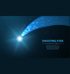 shooting star falling comet with glow on dark vector image