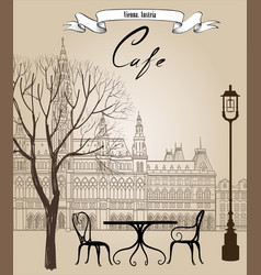 street cafe in old city cityscape view travel vector image