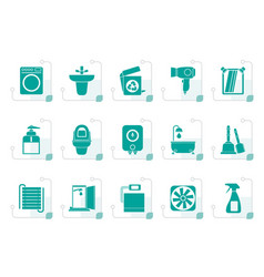 stylized bathroom and toilet objects and icons vector image