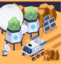 Terraforming mars isometric composition vector