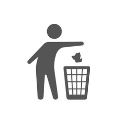 throwing trash icon on white background vector image