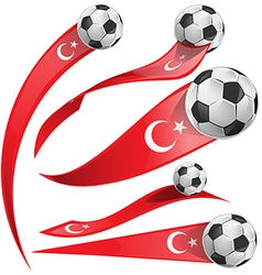 Turkey flag set with soccer ball vector