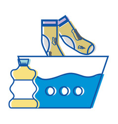 Water pail and dirty socks with bleach bottle vector