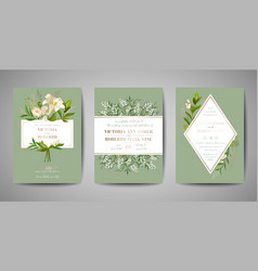 Wedding invitation floral invite rsvp card design vector