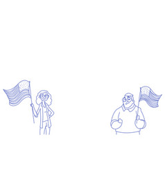 woman man couple holding united states flag vector image