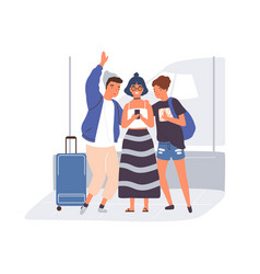 Young modern people taking selfie in airport vector