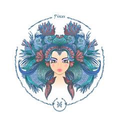 zodiac sign portrait a woman pisces vector image