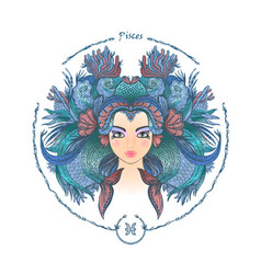 zodiac sign portrait of a woman pisces vector image