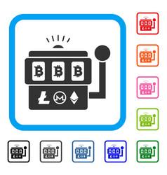 bitcoin gambling machine framed icon vector image vector image