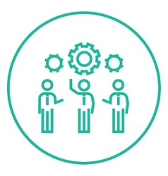 Businessmen under the gears line icon vector
