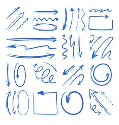 Different doodle arrows set pictures vector