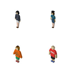 isometric people set of girl policewoman guy and vector image vector image