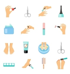 Manicure and pedicure flat icons set vector