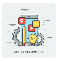 mobile application development flat vector image