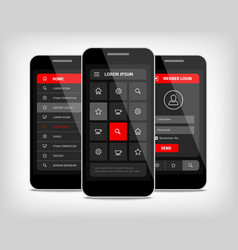 mobile phones ui red buttons vector image vector image