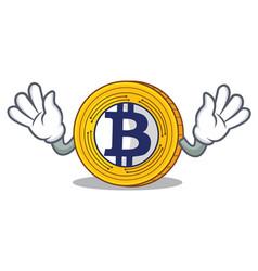 mocking bitcoin gold character cartoon vector image vector image