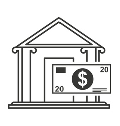 bank building with finance icon vector image vector image