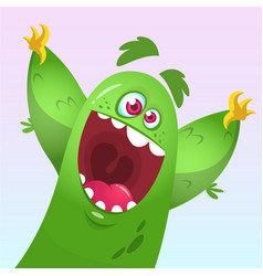 cartoon green fluffy monster vector image